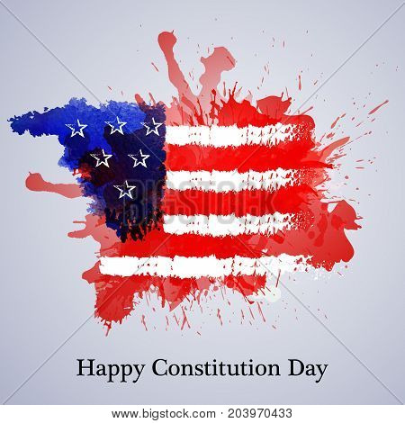 illustration of USA flag texture background with Happy Constitution Day text on the occasion of USA Constitution Day