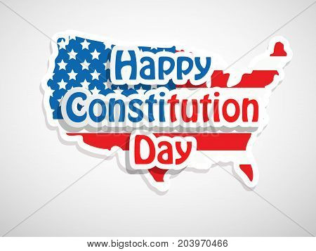 illustration of USA map in USA flag background with Happy Constitution Day text on the occasion of USA Constitution Day