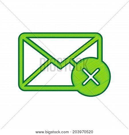 Mail sign illustration with cancel mark. Vector. Lemon scribble icon on white background. Isolated