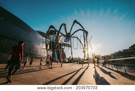 Bilbao, Spain - JULY 2017: Maman - is a bronze stainless steel and marble sculpture on the Bilbao embankment near the Guggenheim Museum Spain