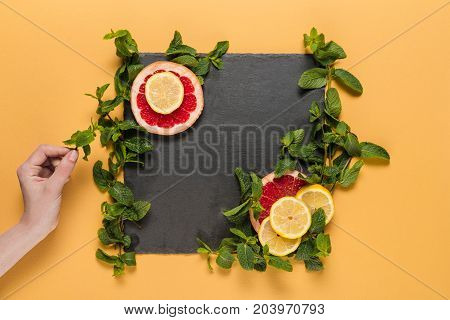 Hand With Mint Leaves, Citrus Slices