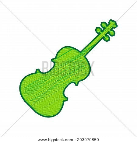 Violin sign illustration. Vector. Lemon scribble icon on white background. Isolated