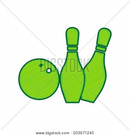 Bowling sign illustration. Vector. Lemon scribble icon on white background. Isolated