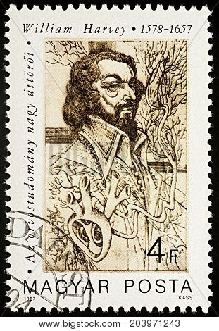 Moscow Russia - September 13 2017: A stamp printed in Hungary shows portrait of William Harvey (1578-1657) English physician series
