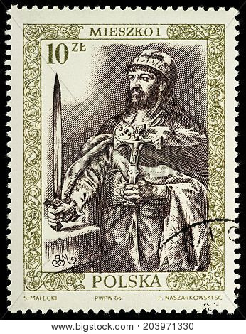 Moscow Russia - September 12 2017: A stamp printed in Poland shows Mieszko I (930-992) First Duke of Poland series
