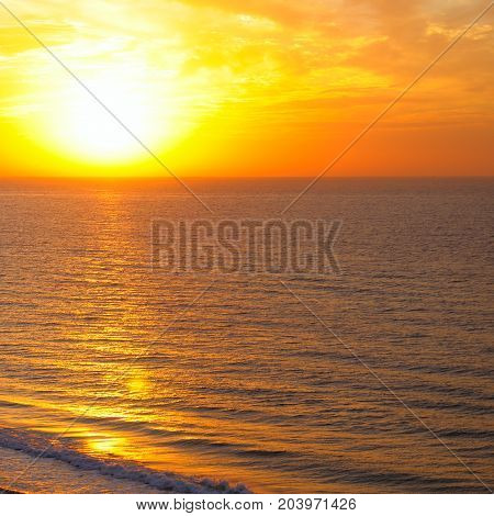 A Bright sun rise over the ocean