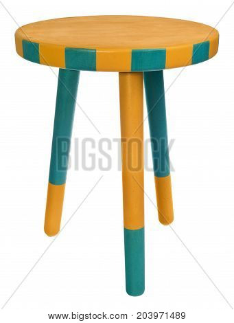 Handmade Stool In Yellow And Green Round Seat With Yellow And Green Wooden.