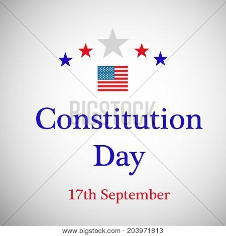 illustration of stars and USA flag with Constitution Day 17th September text on the occasion of USA Constitution Day
