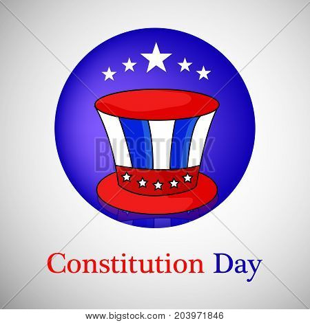 illustration of hat and stars in circle background with Constitution Day text on the occasion of USA Constitution Day