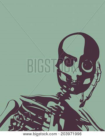 Anatomic skull and part of the torso. Detailed illustration of human skull.