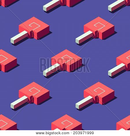 Seamless pattern of cubic lollipops on light violet background. Retro design concept, Clipping mask used.
