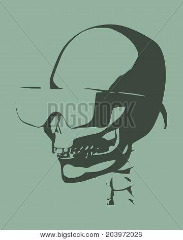 Anatomic skull in sunglasses. Detailed illustration of human skull.