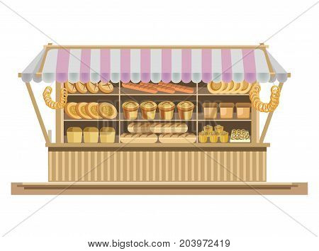 Big counter with tent full of fresh delicious bakery products isolated vector illustration on white background. Tasty bread, aromatic flapjacks, French baguettes, sweet cupcakes and nutritious bagels.
