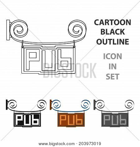Wooden pub signboard icon in cartoon design isolated on white background. Pub symbol stock vector illustration.