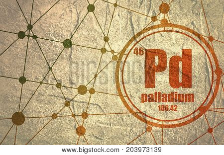 Palladium chemical element. Sign with atomic number and atomic weight. Chemical element of periodic table. Molecule And Communication Background. Connected lines with dots. Grunge distress texture.