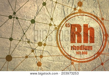 Rhodium chemical element. Sign with atomic number and atomic weight. Chemical element of periodic table. Molecule And Communication Background. Connected lines with dots. Grunge distress texture.
