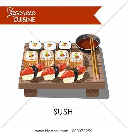 Sushi Japanese cuisine food of seafood rolls, salmon or tuna caviar sashimi on rice, shrimp or prawn tempura maki in nori seaweed. Vector icons set for Japan sushi restaurant or bar menu