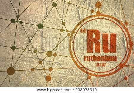 Ruthenium chemical element. Sign with atomic number and atomic weight. Chemical element of periodic table. Molecule And Communication Background. Connected lines with dots. Grunge distress texture.