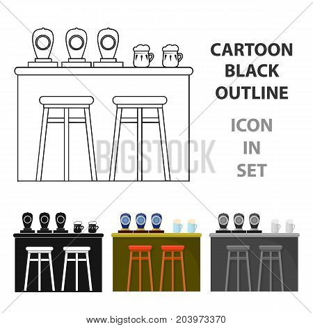 Bar icon in cartoon design isolated on white background. Pub symbol stock vector illustration.