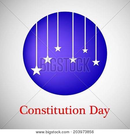 illustration of hanging stars in circle background with Constitution Day text on the occasion of USA Constitution Day