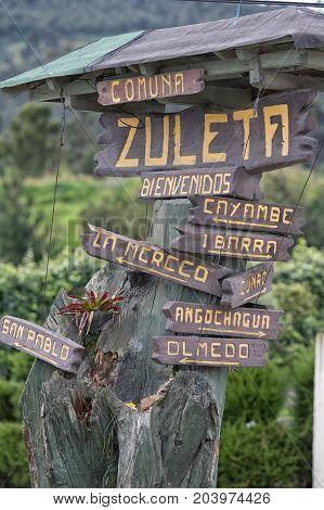 tourism sigm in the Zuleta village a popular destination