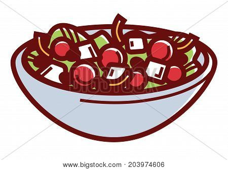Delicious healthy Greek salad in deep bowl isolated cartoon flat vector illustration on white background. Fresh summer dish made of fresh organic vegetables, sweet onions and fragrant feta cubes.
