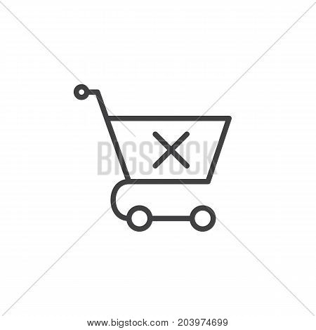 Shopping cart with x mark line icon, outline vector sign, linear style pictogram isolated on white. Clear shopping cart symbol, logo illustration. Editable stroke. Pixel perfect vector graphics