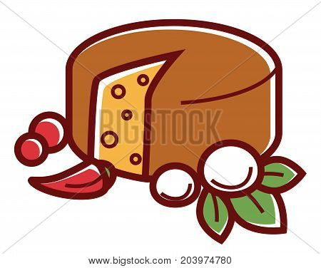 Mozzarella wheel with spicy condiments and green herbs isolated cartoon flat vector illustration on white background. Young delicious exquisite cheese of Italian origin, made from black buffalo milk.