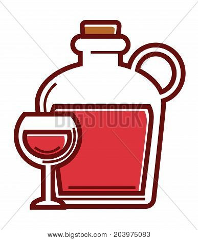 Homemade red wine in fragile glass and huge bottle with handle and cork isolated cartoon flat vector illustration on white background. Delicious Mediterranean rustic alcohol drink in containers.