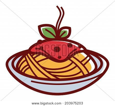 Delicious hot pasta with red sauce and herbs in deep bowl isolated cartoon flat vector illustration on white background. Original Italian spaghetti covered with exquisite meat bolognese sauce.