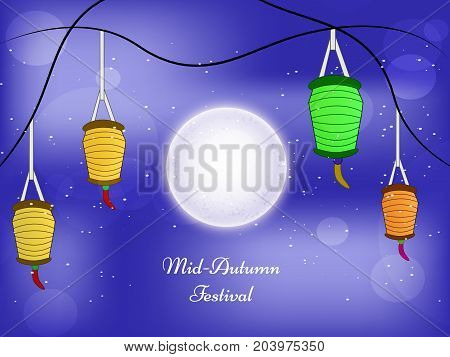 illustration of lanterns and moon with Mid Autumn Festival text on the occasion of  harvest festival Mid Autumn celebrated in most East Asian Countries