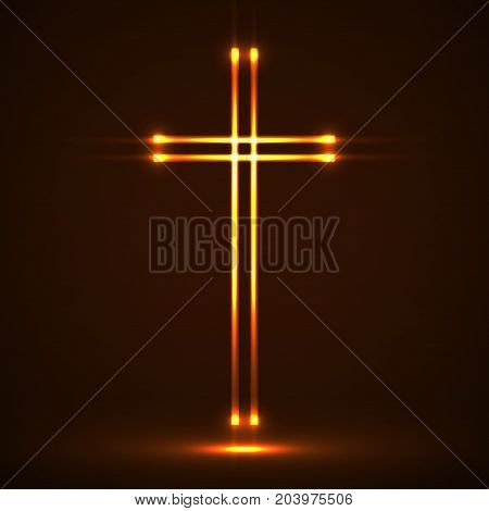 Glowing christian cross. Religious symbol. Vector sign