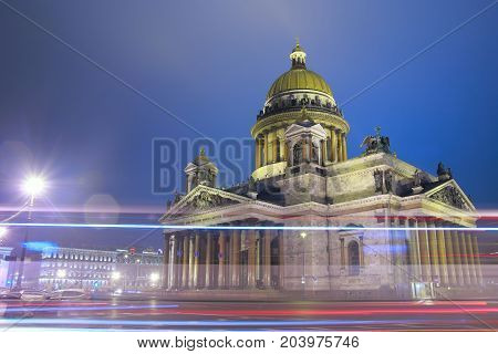 St.Petersburg St. Isaac's Square St. Isaac's cathedral in the evening