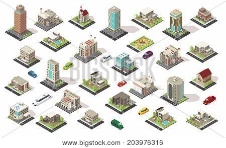 Isometric city elements collection with living and municipal buildings suburban houses children playground transport isolated vector illustration poster