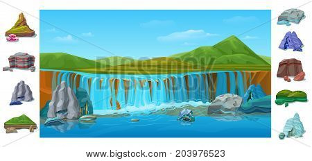 Cartoon colorful beautiful nature landscape background with waterfall hills green mountains different stones and rocks vector illustration