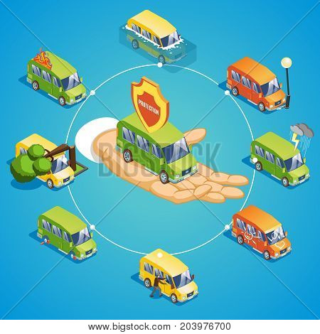 Isometric car insurance round concept with protection from fire storm flood crash accident falling tree theft hooliganism vector illustration