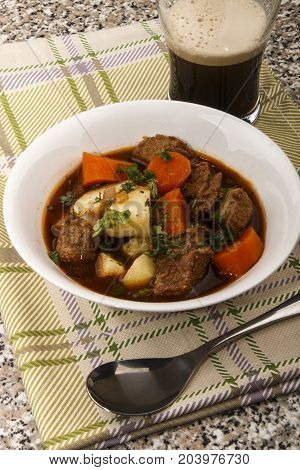 home made irish guinness beef stew in a bowl