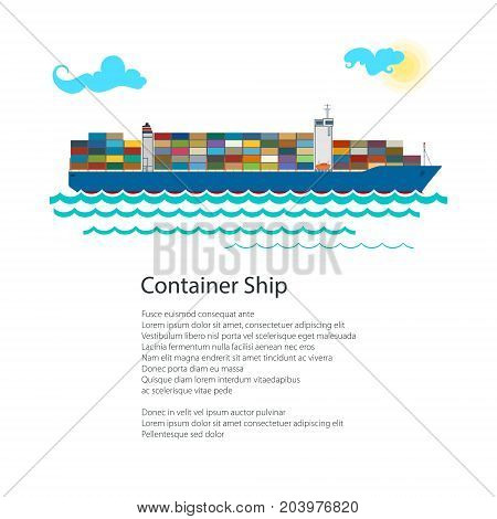 Poster Cargo Container Ship Industrial Marine Vessel with Containers on Board and Text International Freight Transportation Brochure Flyer Design Vector Illustration
