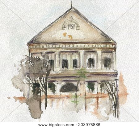 Watercolor sketch of old house in Moldova. Hand-drawn illustration