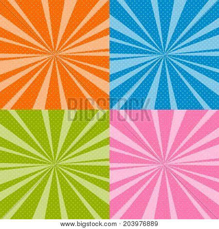 Set of Retro Pop Art Background with Sunbeam Dots on Colorful Background and the Sun's Rays Vector Illustration