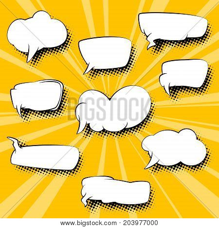 Set of Speech Bubbles on Retro Pop Art Background with Sunbeam Dots on Yellow Background and the Sun's Rays Vector Illustration
