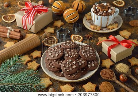 Christmas chocolate cookies on a brown background