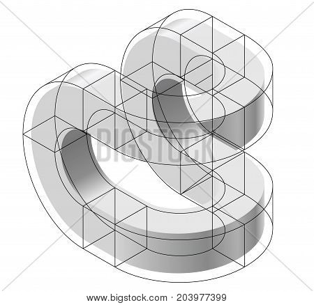Abstract curved vector shape reminiscent of technological development, nanotechnology component. Isometric brand of scientific institution, research center, laboratories, spatial paradox.