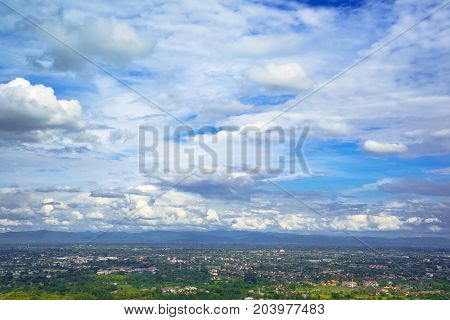 blue sky and clouds over chiang mai city at view point Thailand.