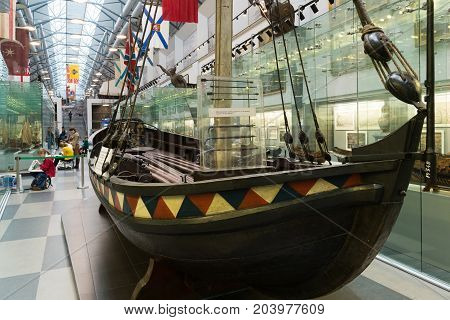 St. Petersburg, Russia - June 02. 2017. Boat of Tsar Peter I in Naval Museum in the Kryukov Barracks