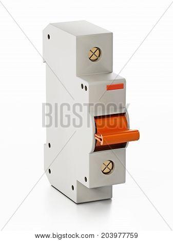 Fuse box isolated on white background. 3D illustration.