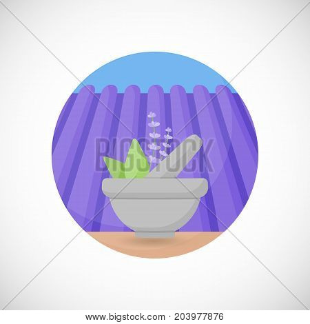 Lavender in mortar and pestle vector flat icon Flat design of aromatic plant beauty product ingredient herb on the lavender field and sky background vector concept illustration with shadows