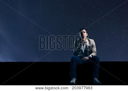 Worried Man In Starry Night Sky. Problems.