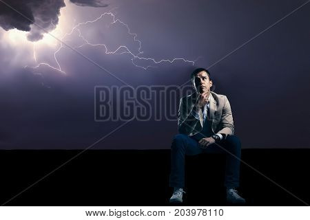 Worried Man In Thunder Storm. Problems. Trouble.