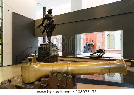 St. Petersburg, Russia - June 02. 2017. Sculpture of Tsar Peter I in Naval Museum in the Kryukov Barracks